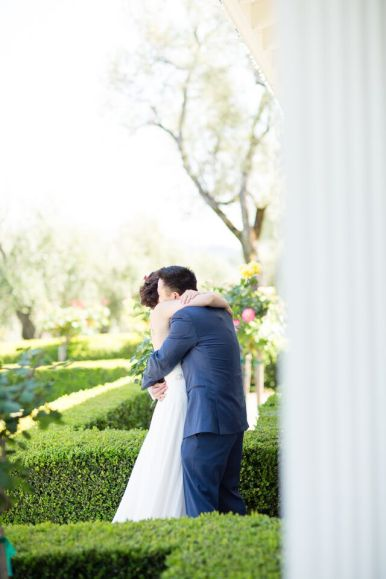 Winery Styled Wedding Shoot - The Bride and Groom Hugging
