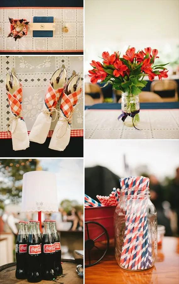Americana Wedding: Libby + Ernie - reception decor (photo: michelle gardella)