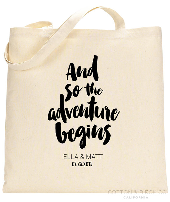 And So The Adventure Begins Tote Bag | What to Put in Wedding Welcome Bags | http://emmalinebride.com/planning/wedding-welcome-bags/