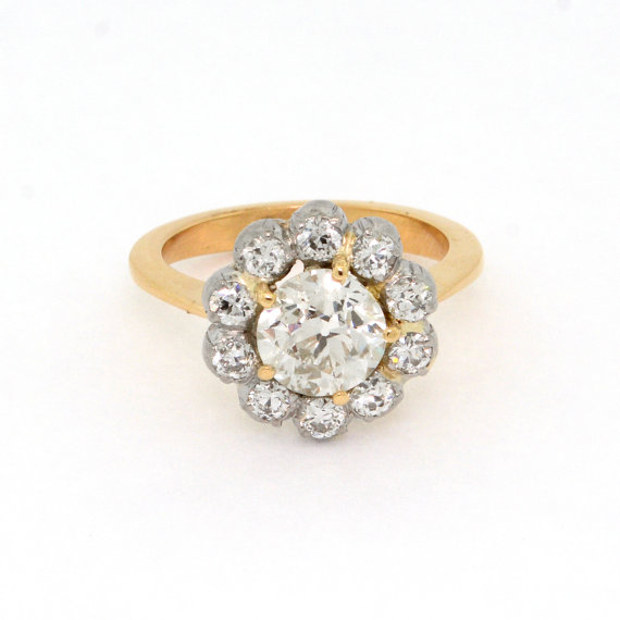 antique daisy cluster engagement ring by SITFineJewelry | daisy ideas theme weddings