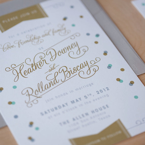 This gold and blue confetti wedding invitation sets the tone for a jubilee! By Jen Simpson Design.