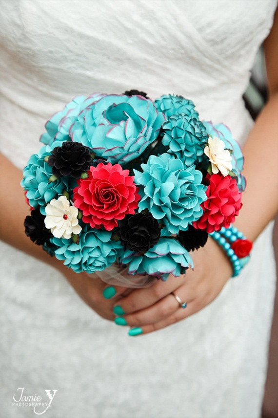 aqua-red-black-paper-flower-bouquet