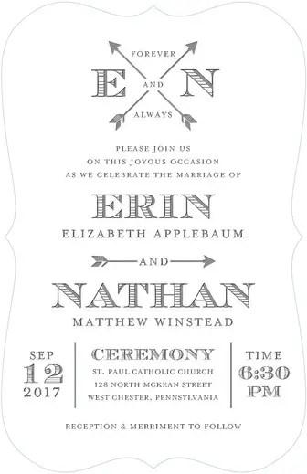 arrowed eternity wedding invitations