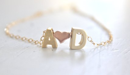initials and heart necklace by ava hope designs   via emmalinebride.com