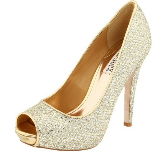 These Badgley Mischka gold heels are one of my favorite finds.  Peep toes? Check. Gold? Check.  A high heel? Check.  It's perfect for a gold inspired wedding. #heels #shoes #gold #bride #wedding