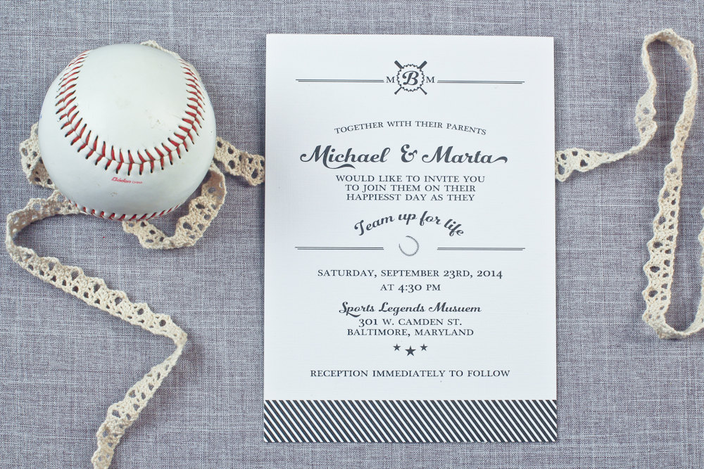 baseball wedding invitations by sea of love studios