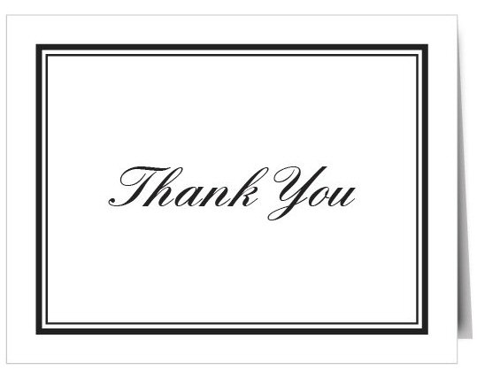 basic thank you card white and black