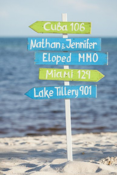 beach ceremony sign