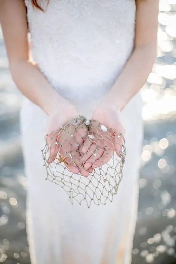 beach wedding veil netting