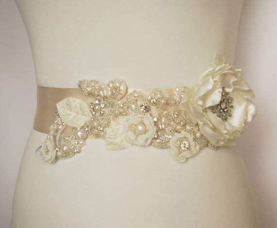 Flower Sash for Wedding Dress with Hand-Beading