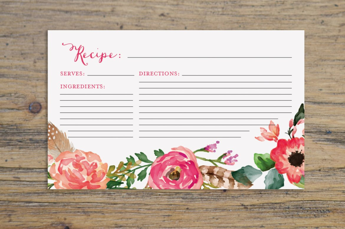 beautiful floral recipe card by KarlyKDesignShop