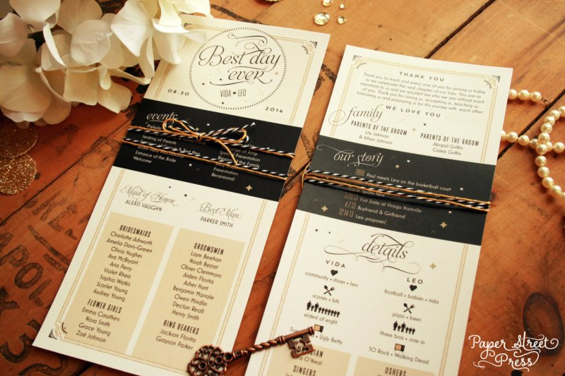 best day ever infographic wedding programs | via Starry Night Weddings http://emmalinebride.com/vintage/starry-night-weddings-ideas/