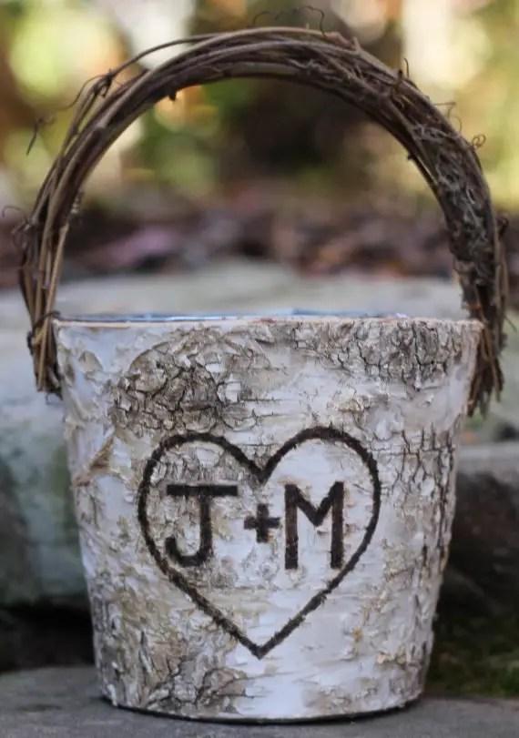 birch carved basket rustic flower girl baskets