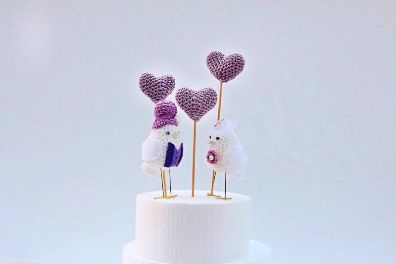 bird cake topper set made of yarn