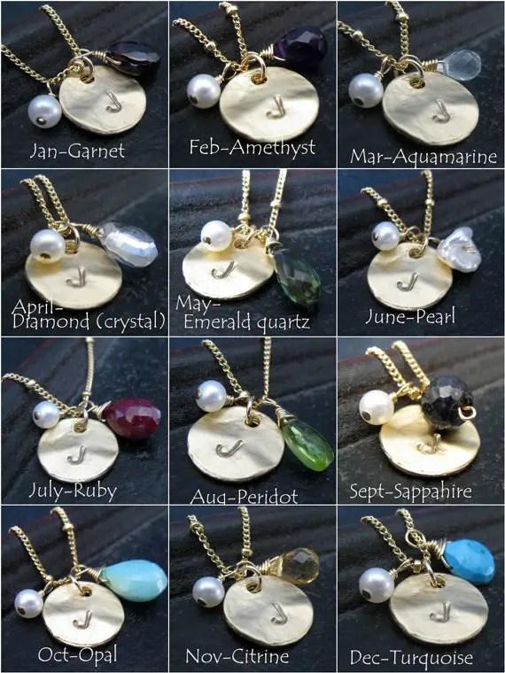 birthstone gem chart - Birthstone Bridesmaid Jewelry