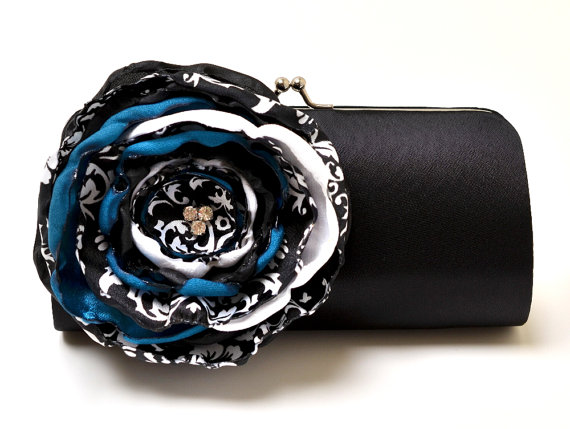 black clutch with teal and white flower - Teal Wedding Accessories from Fallen Sparrow