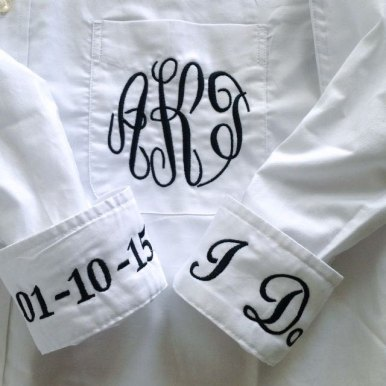This monogrammed button down wedding shirt is one excellent option for getting ready before the wedding. It is easy to remove, so you won't mess up your hair and makeup | By Elegant Monograms | http://emmalinebride.com/bride/button-down-wedding-shirt/
