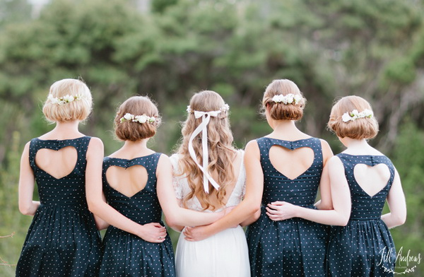 blue-short-bridesmaid-dresses-with-heart-back  - emmaline bride wedding blog