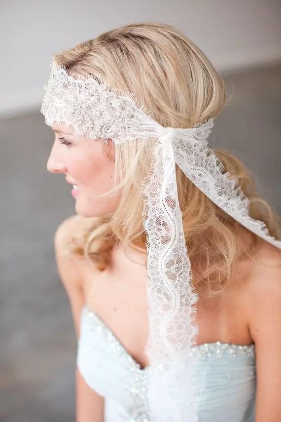 How to Rock a No Veil Wedding Look (via EmmalineBride.com) - Boho Lace Veil Alternative by Stella's Design