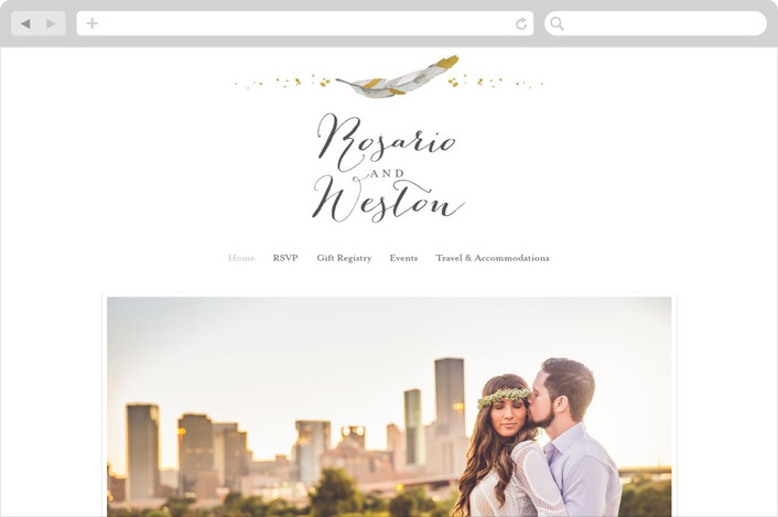 boho dipped feathers wedding website