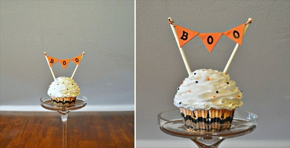 boo halloween cupcake toppers via 30 Amazing Halloween Wedding Ideas from EmmalineBride.com