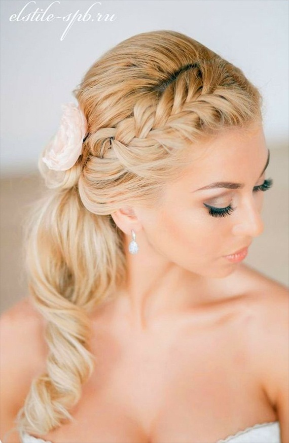 Briaded Ponytail Updo Hairstyle For Bride