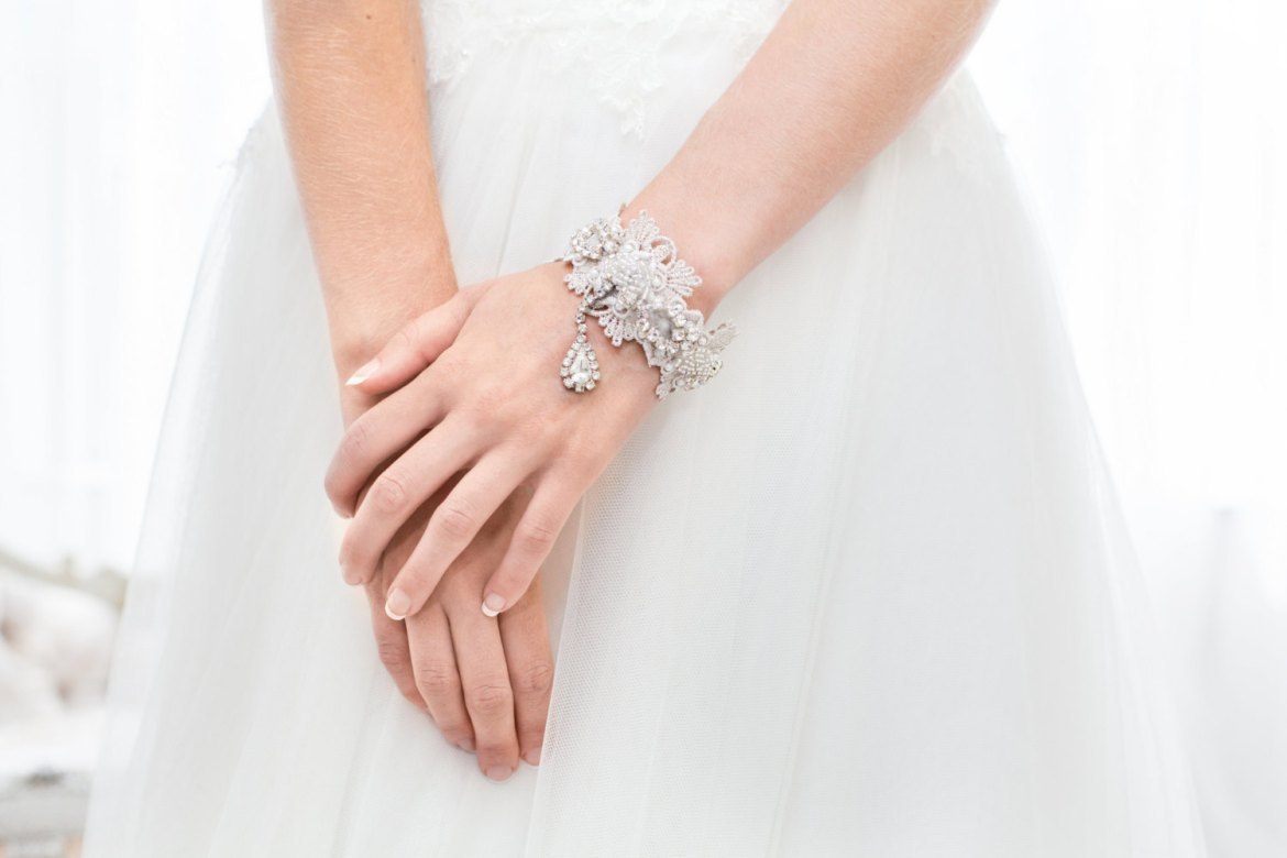 bridal bracelet rhinestone by cloe noel, photo by la candella weddings