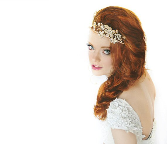 bridal headband with flowers