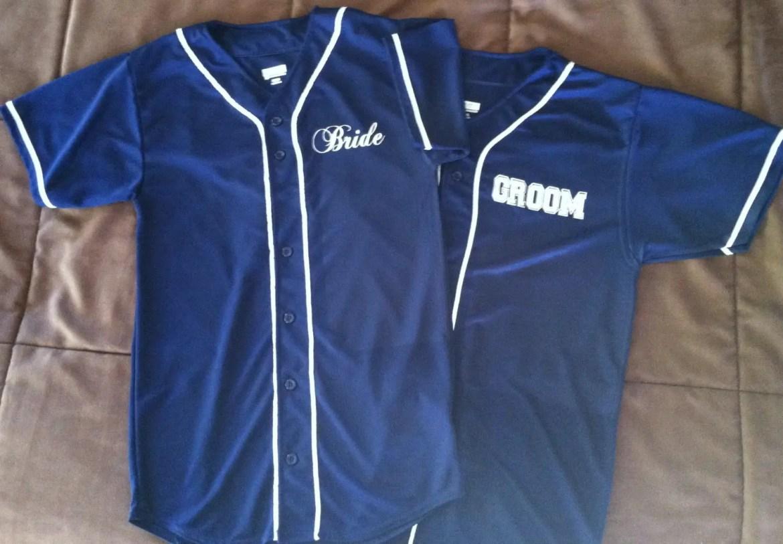 bride and groom baseball jerseys by LeifArtDesigns