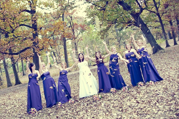 Vintage Fall Wedding - brides and bridesmaid tossing leaves