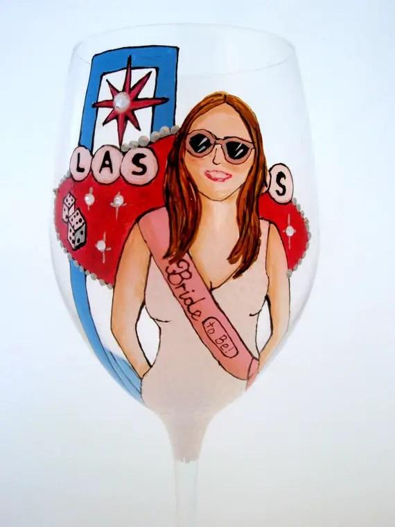 las vegas bachelorette party wine glass - personalized glassware gifts | http://emmalinebride.com/bridesmaids/personalized-glassware-gifts/