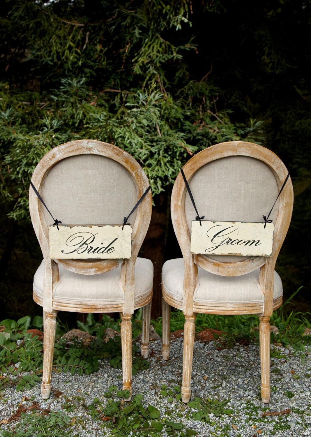 bride groom vintage wedding chair signs | via bride and groom chair signs http://emmalinebride.com/decor/bride-and-groom-chairs/