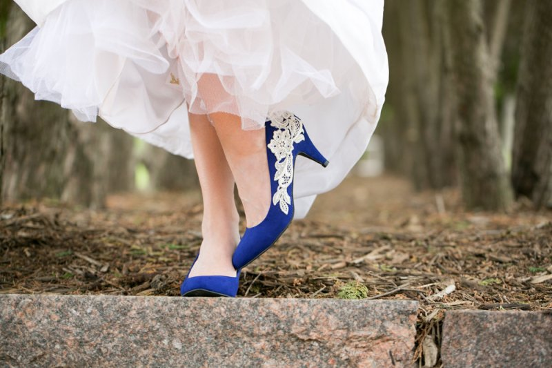 Blue Suede Heels with Lace