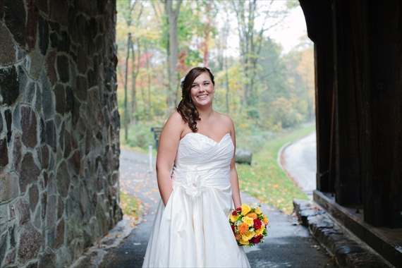 DIY Fall Wedding - Photo by Noelle Ann Photography - #bride holding #bouquet of #fall #wedding #flowers