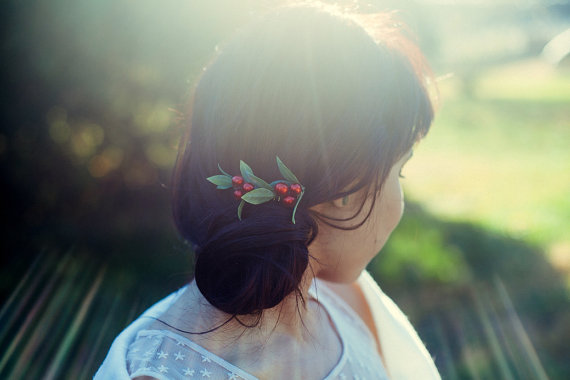 bride's woodland wedding berry hair comb by handmade artist KimArt