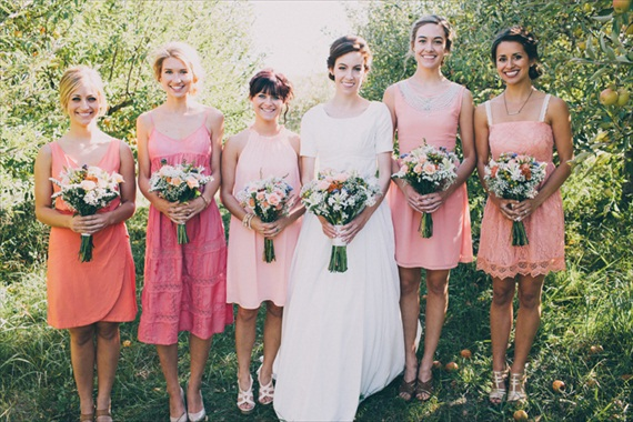 bridesmaids mismatched dresses (photo by justin battenfield)