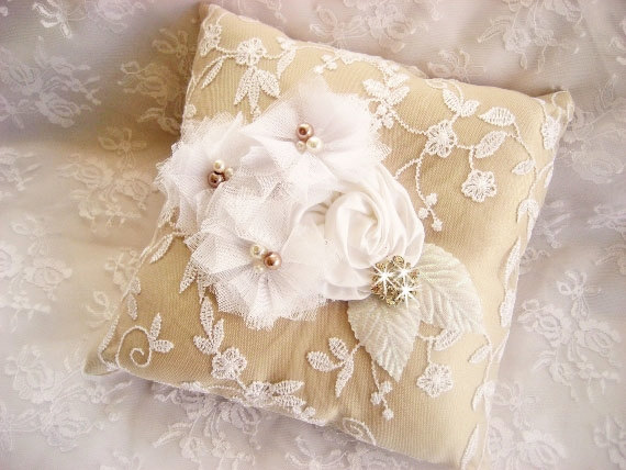 burlap ring pillow - ring bearer pillow ideas