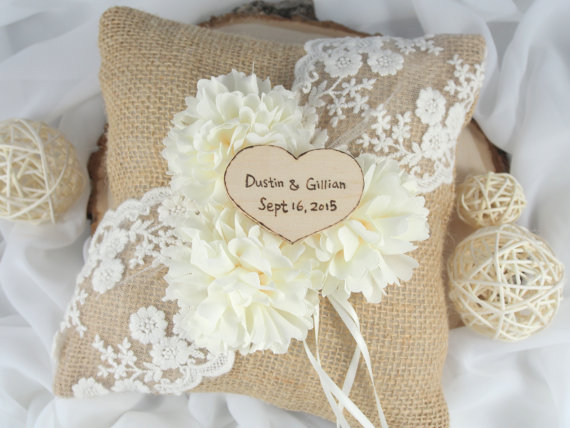 burlap ring pillow with personalized rustic wood heart | ceremony accessories weddings https://emmalinebride.com/ceremony/ceremony-accessories-weddings/