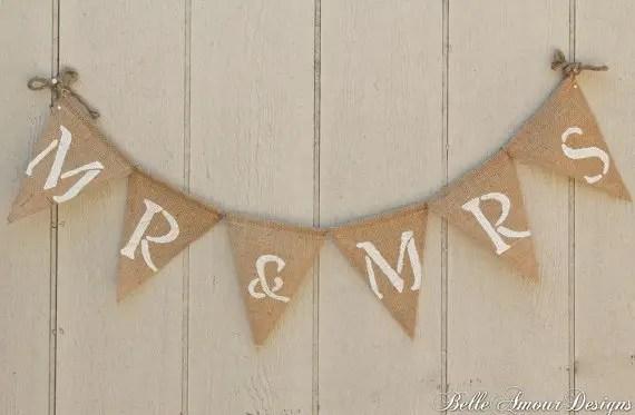 Burlap Wedding Banners - mr & mrs