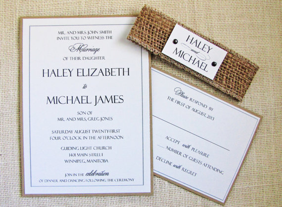 Wedding Invitations With Burlap: Wedding Invitations Made Of Burlap