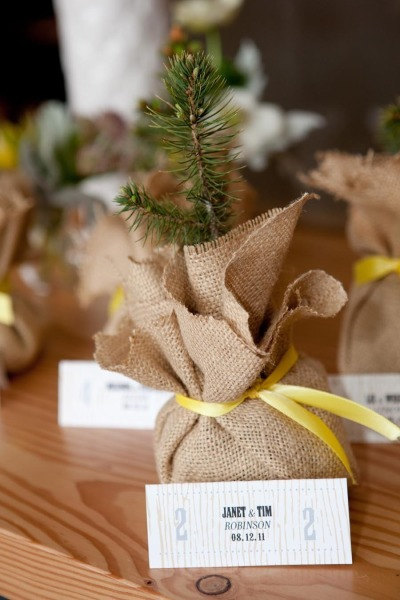 burlap wrapped tree favors
