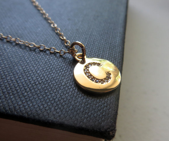 c gold initial necklace