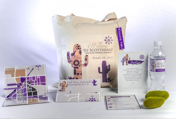 cactus welcome bag for weddings