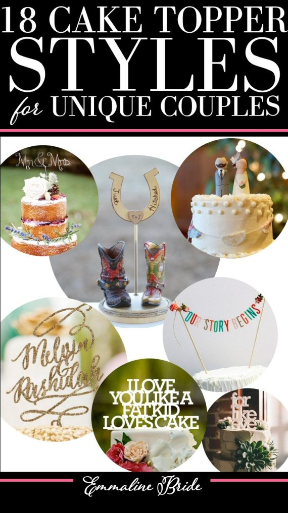 18 Cake Topper Styles for Unique Couples | http://emmalinebride.com/decor/cake-topper-styles/