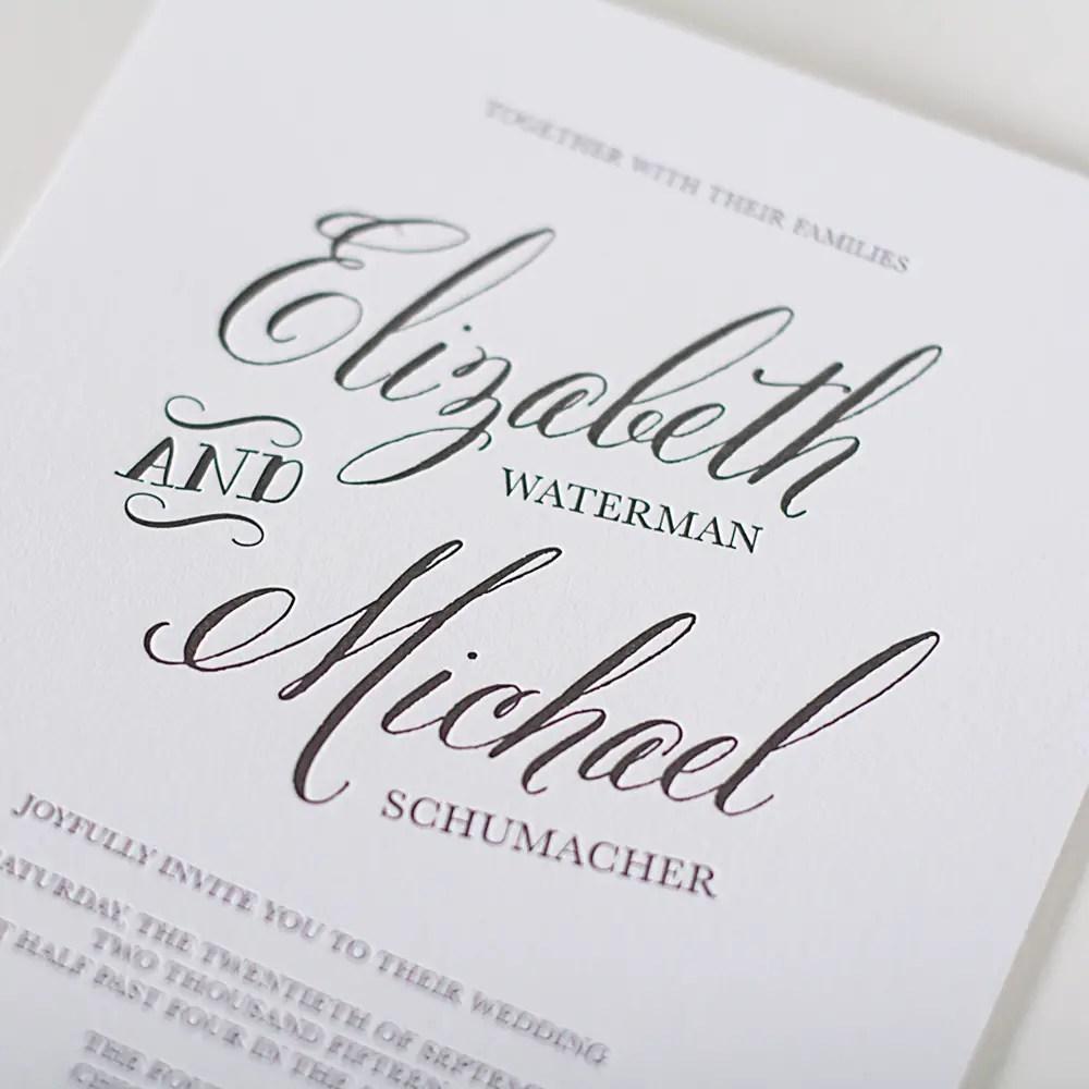 calligraphy script letterpress invitation