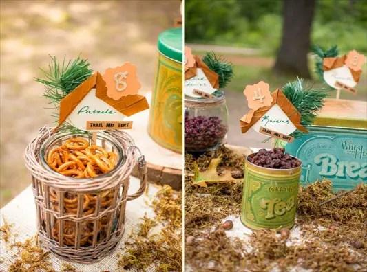 camp themed wedding - trail mix