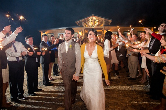 Rustic Fall Ceremony Ideas - bride wearing a cardigan / sparkler exit (photo by katelyn james)