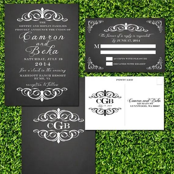 chalkboard style wedding invitations