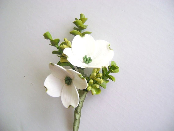 clay dogwood boutonniere for modern wedding | via What Kind of Boutonniere to Pick (and Why) http://emmalinebride.com/groom/what-kind-of-boutonniere/