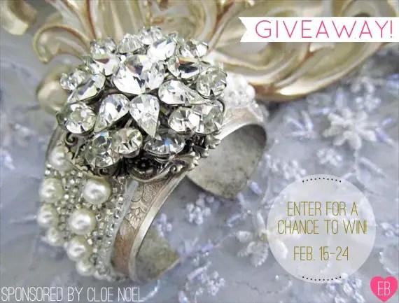 Bridal Cuff Giveaway (by CloeNoelDesigns.com via EmmalineBride.com) #handmade #wedding #jewelry